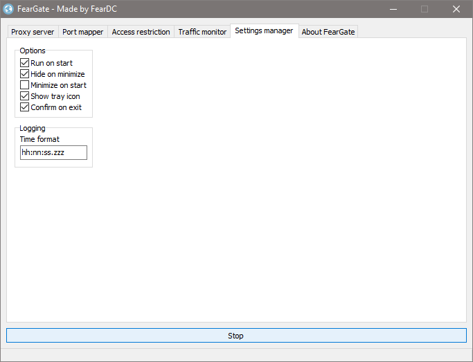 Settings manager