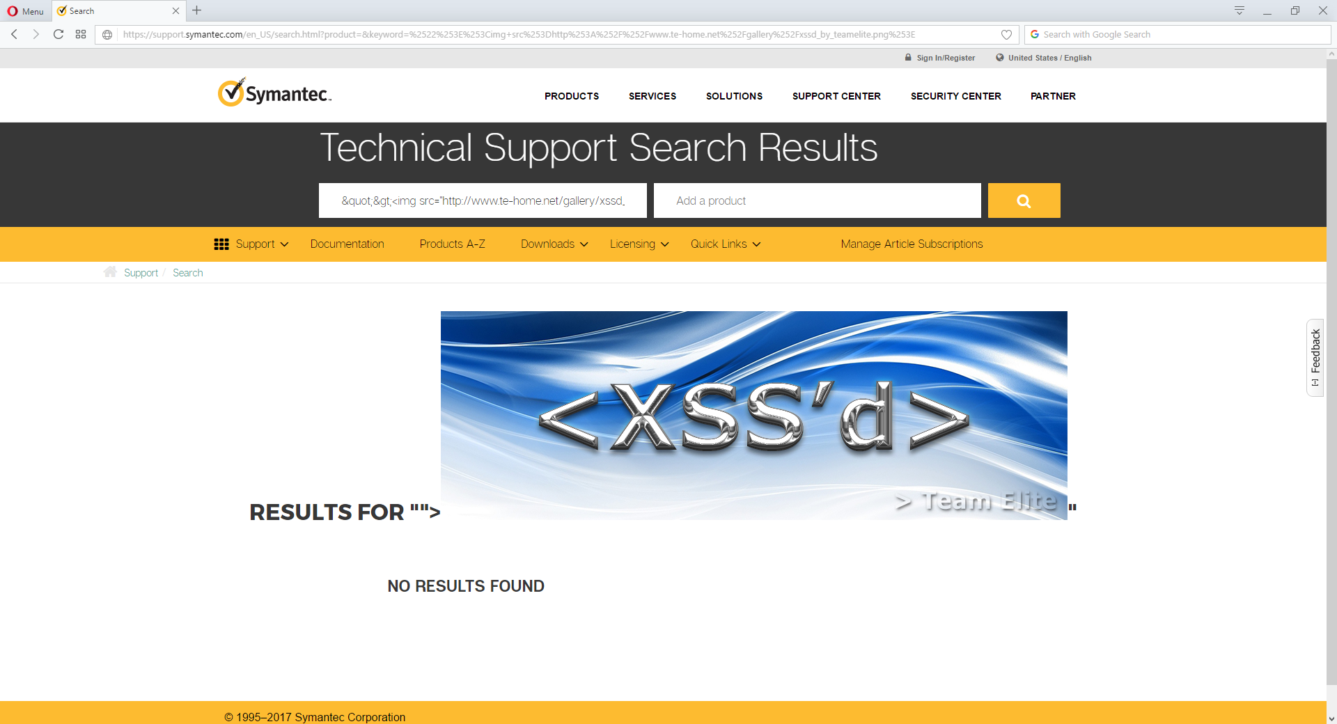 Team Elite - News - They never learn: Symantec support page